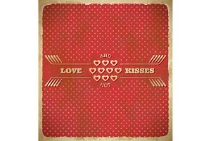 Valentine's Day polka dot card with tiny hearts