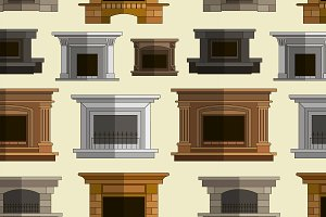 fireplace icons design pattern