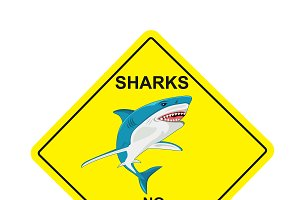 sharks no swimming sign, vector