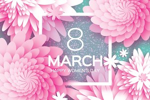 8 March. Pink Paper Flower