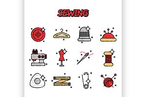 Sewing flat icons set