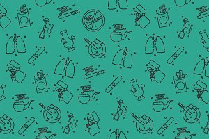 Smoking flat icons pattern