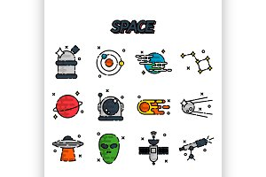 Space flat icons set