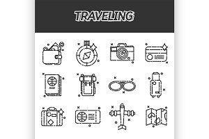 Travel Icons Set flat design
