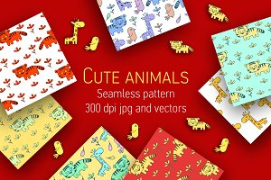 Cute animals seamless patterns