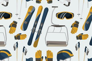 Ski and Snowboard equipment pattern