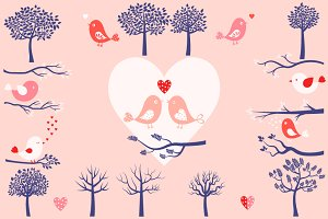 Trees, bird, branches and hearts set