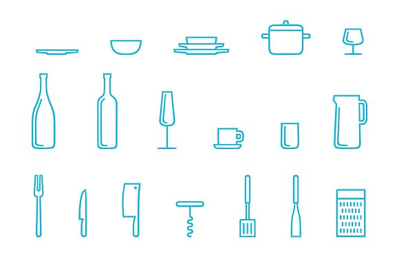 Cookogram, Outline - Icon Pack in Graphics - product preview 3
