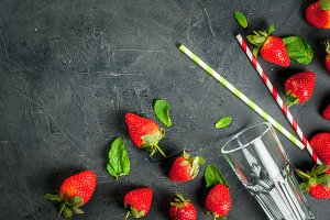 Ingredients for strawberry smoothie
