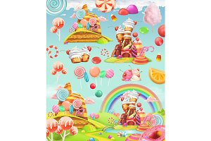 Sweet candy land. 3d vector