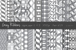 29 Digital paper Gray ribbons