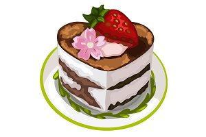 Delicious cake with strawberry and flower