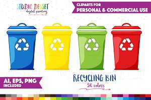 Recycling Bin Vector Cliparts