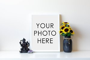 White Frame With Statue & Sunflowers