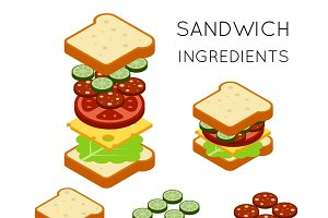 Vector sandwich ingredients