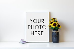 White Frame With Gems and Sunflowers