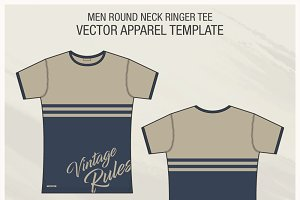 Roundneck Ringer Tee Fashion Flat