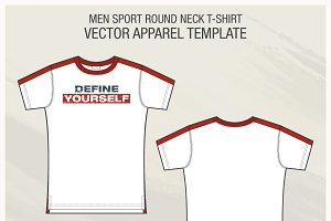 Men Sport Roundneck T-shirt Template