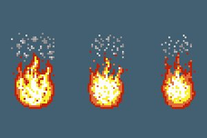 Flame with smoke animation frames