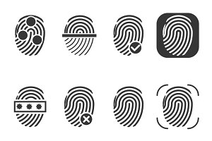 Fingerprint vector icons