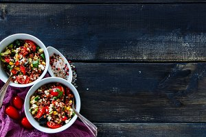 Appetizing red rice salad