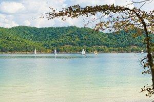 Lake with sailboats