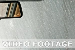 Automatic tunnel car wash. View from inside.