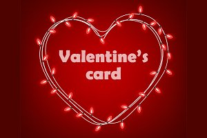 Valentines card with heart of lights