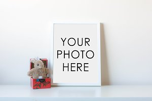 White Frame With Rabbit In Box