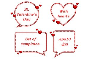Valentine card templates with hearts