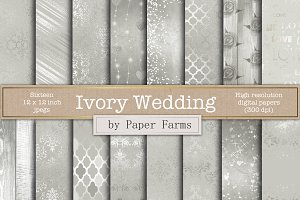 Ivory wedding digital paper