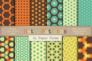 Retro patterns digital paper