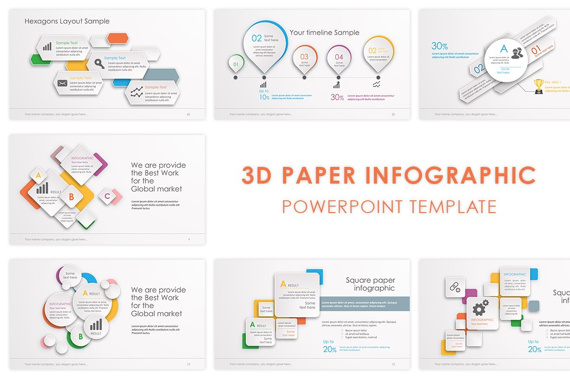 Infographic powerpoint template presentation templates 3d paper powerpoint template alramifo Images