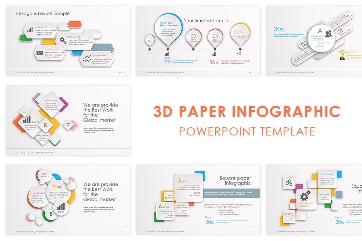 3d Paper Powerpoint Template Presentation Templates Creative Market