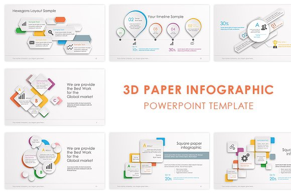 3d paper powerpoint template presentation templates creative market
