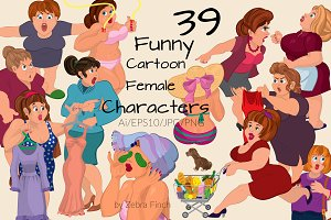 Funny cartoon female characters