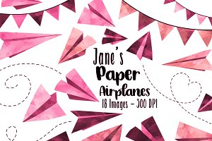 Watercolor Pink Paper Planes Clipart
