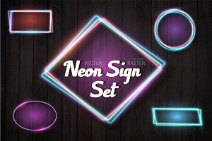 Vintage Vector Neon Sign Set
