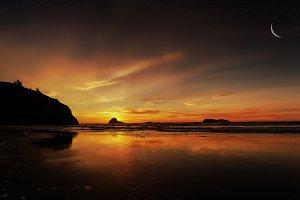 Sunset at a Rocky Beach