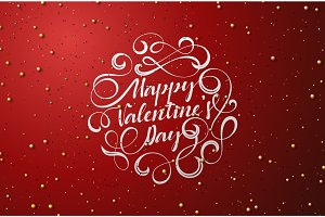 Happy Valentines Day lettering of white color for greeting card.