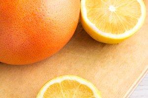 lemon,grapefruit on table
