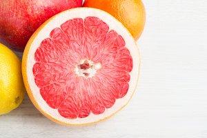 grapefruit on white table