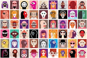 People faces collage