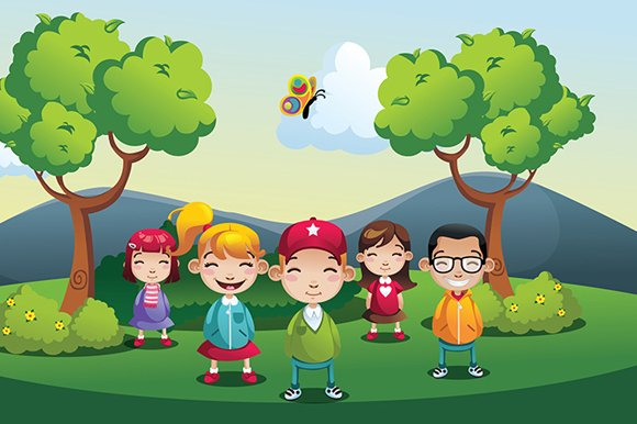 cartoon park kids boys  girls illustrations