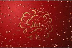 Love lettering. Happy Valentines Day for greeting card.