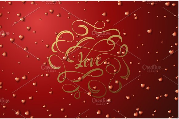 Love Lettering Happy Valentines Day For Greeting Card