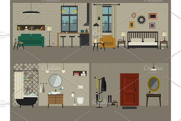 Set Of Apartment Interiors With Furniture Icons
