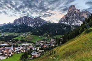 Corvara village and Badia Valley