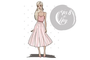 Fashion girl in pink dress.