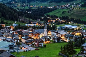 Corvara village and Badia Valley in summer Alto Adige, Italy
